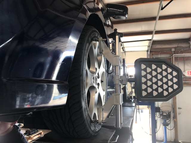 Car being aligned at American & Import Auto Repair in Johnson City, TN